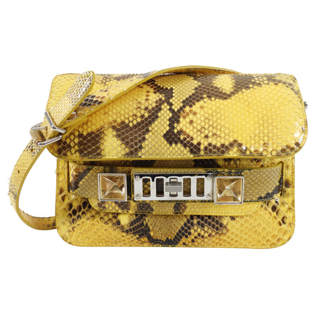 Proenza Schouler Yellow Python Snakeskin PS11 Mini Classic Shoulder Bag