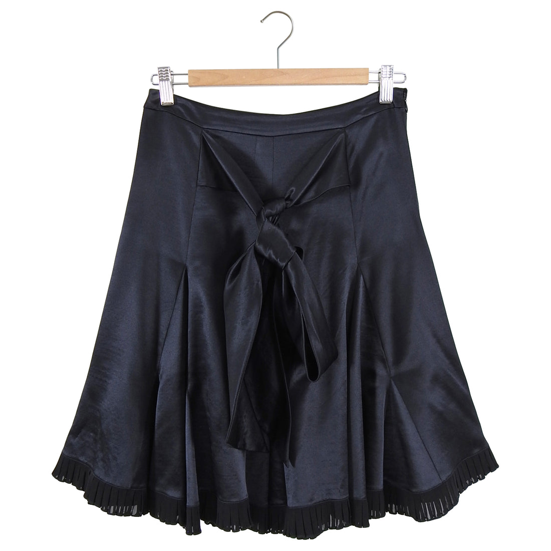 Emilio Pucci Black Silk Satin Flare Skirt with Sash Belt - S