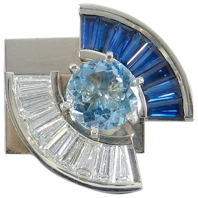 Trisko Modernist Abstract Aquamarine Sapphire Diamond Gold Two-Piece Puzzle