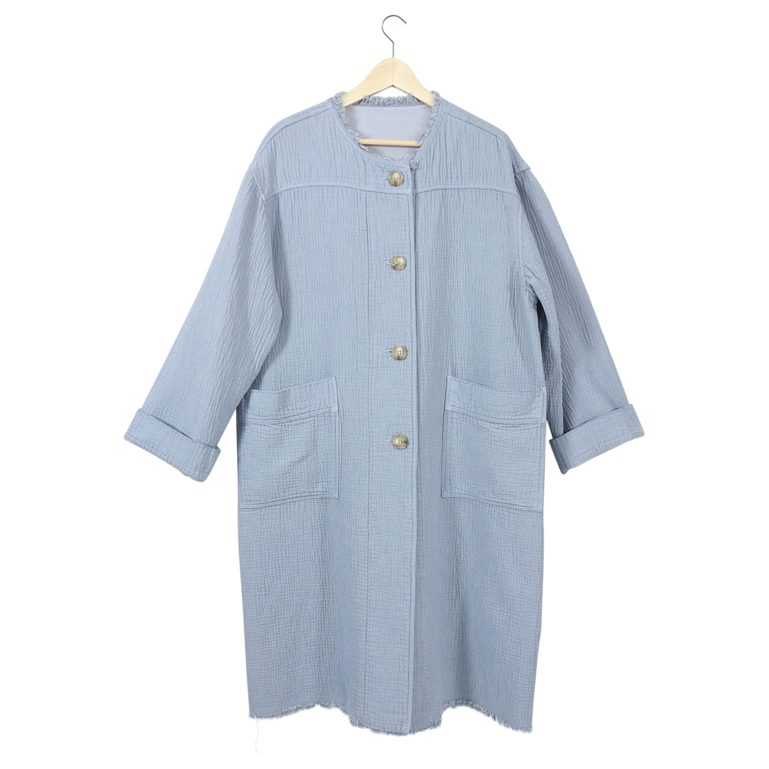 Raquel Allegra Light Blue Dual Canvas Oversized Cocoon Coat - L
