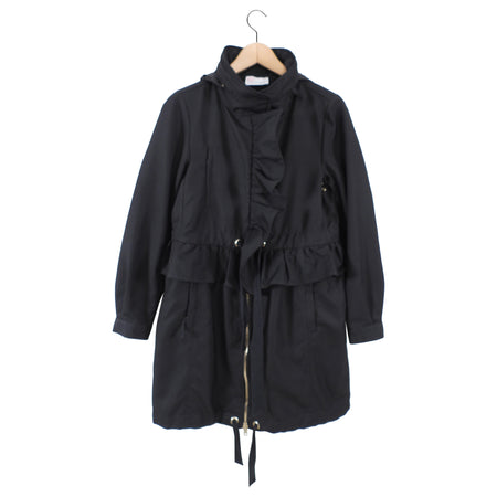 Red Valentino Black Ruffle Spring Hooded Coat - IT42 / USA 6