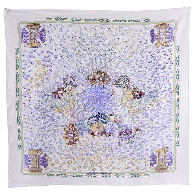 Hermes Rencontre Ocean Light Purple Fishes Silk 90cm Scarf