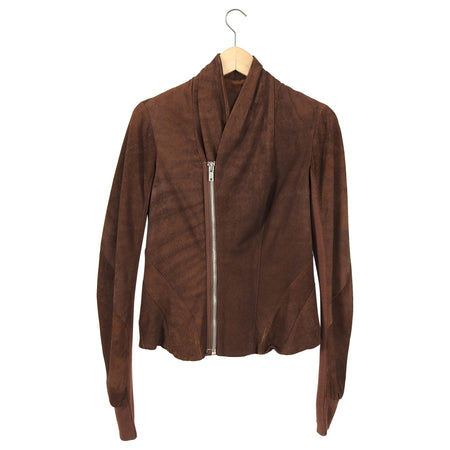 Rick Owens Resin Brown Leather Fitted Zip Jacket - 8