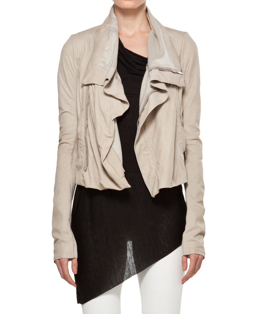 professional design attractivefashion new authentic Rick Owens Light Pearl Beige Leather Biker Jacket - 6
