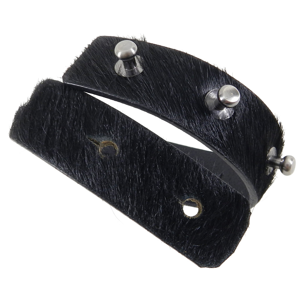 Rick Owens Pony Hair Black Leather Cuff Bracelet