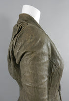 Rick Owens Taupe Distressed Leather Jacket
