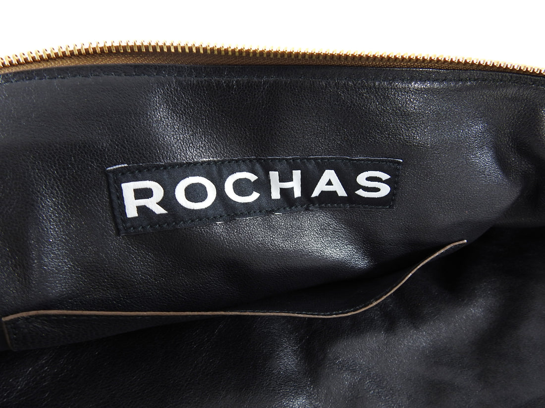 Rochas Dark Gold Metallic Double Satchel Bag