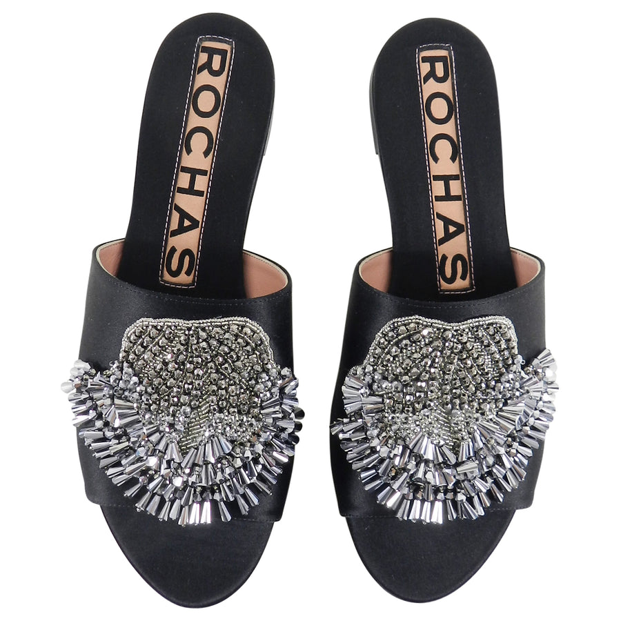 Rochas Black Satin Flat Slide Sandals with Silver Beads - 37