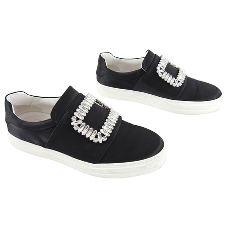 Roger Vivier Sneaky Viv Strass Buckle Black Satin Sneakers