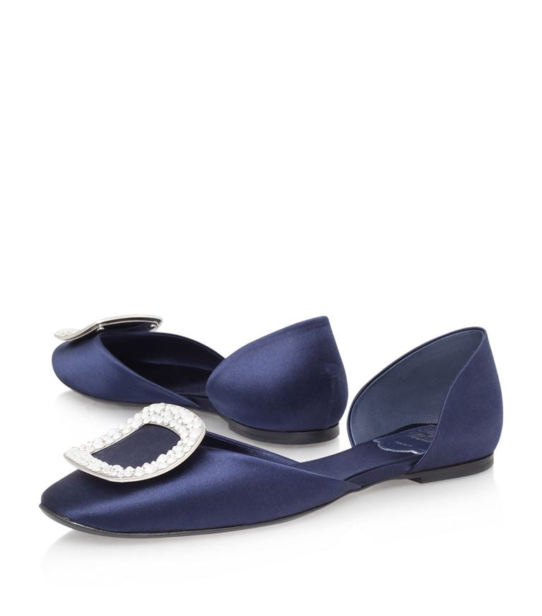 Roger Vivier Navy Satin Chips Strass Slip on Flat Shoes 6-6.5