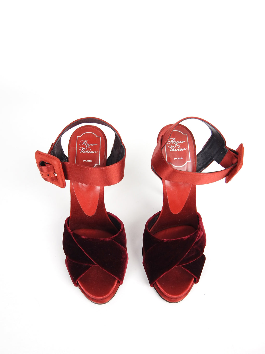 Roger Vivier Red Velvet and Satin Sandals - 40 / 9.5