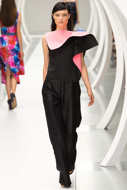 Roksanda Spring 2015 Lorette Black Long Skirt with Pink Ruffle - 8 / 10