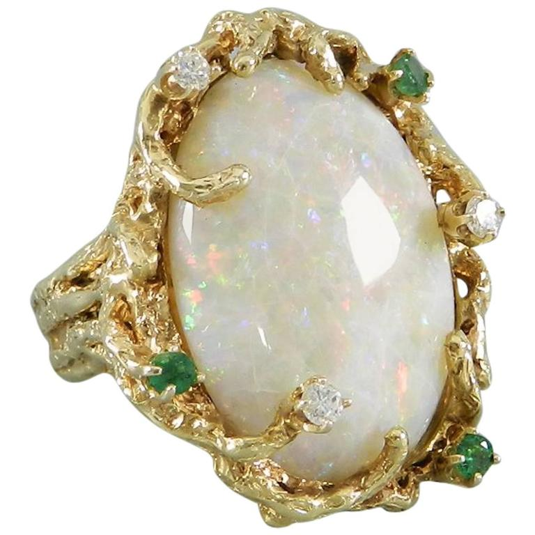 1970s Organic Opal Diamond Emerald Gold Modernist Cocktail Ring