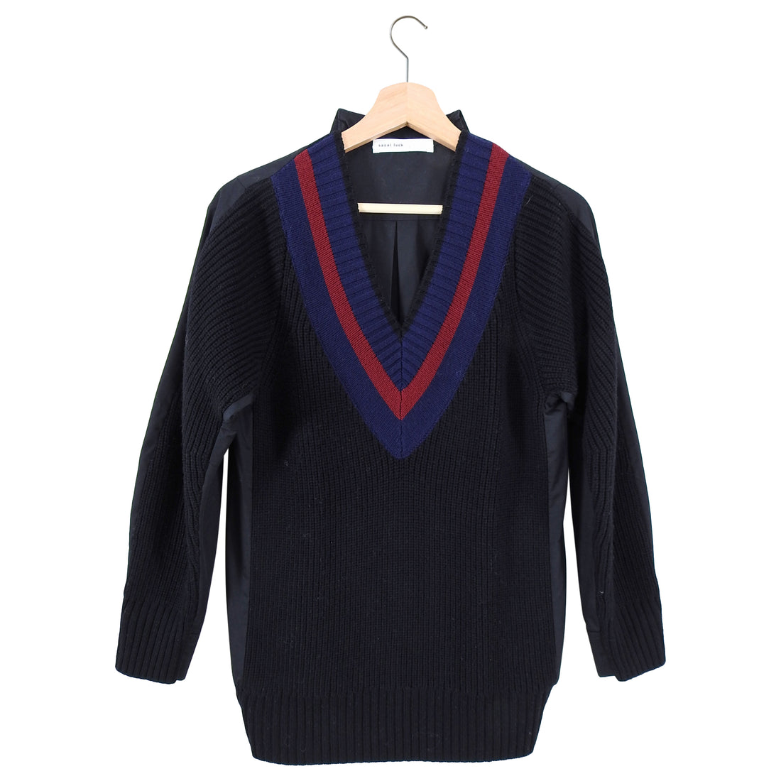Sacai Luck Knit College Sweater with Cotton Back Inset - 6
