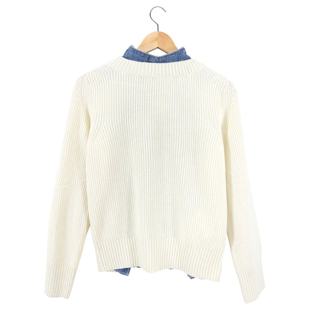 Sacai Cream knit and and Denim Back Sweater - S