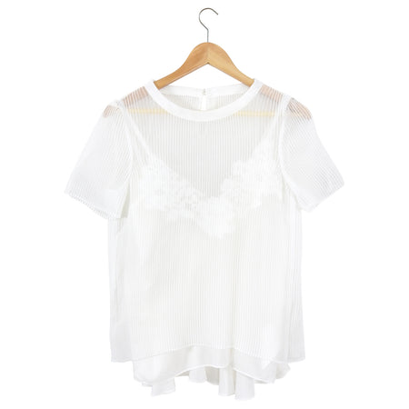 Sacai White Sheer Pleat Layered Lace Cami Top - M