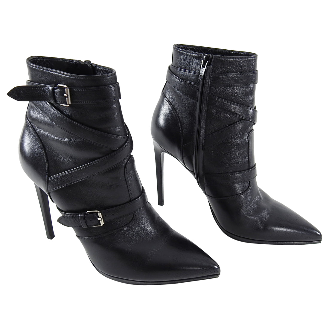 Saint Laurent Black Pointy Ankle Boots with Buckles - 40