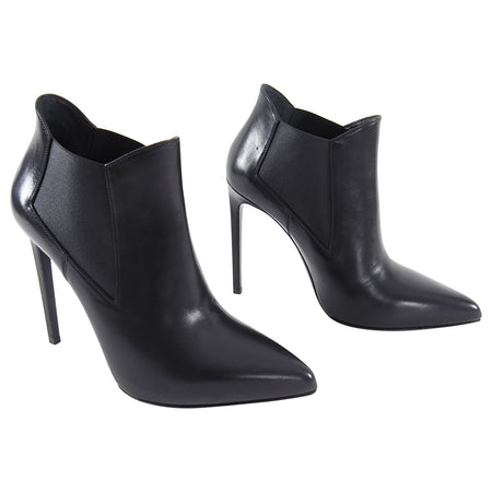 Saint Laurent Black Pointy Toe Ankle Boots - 41