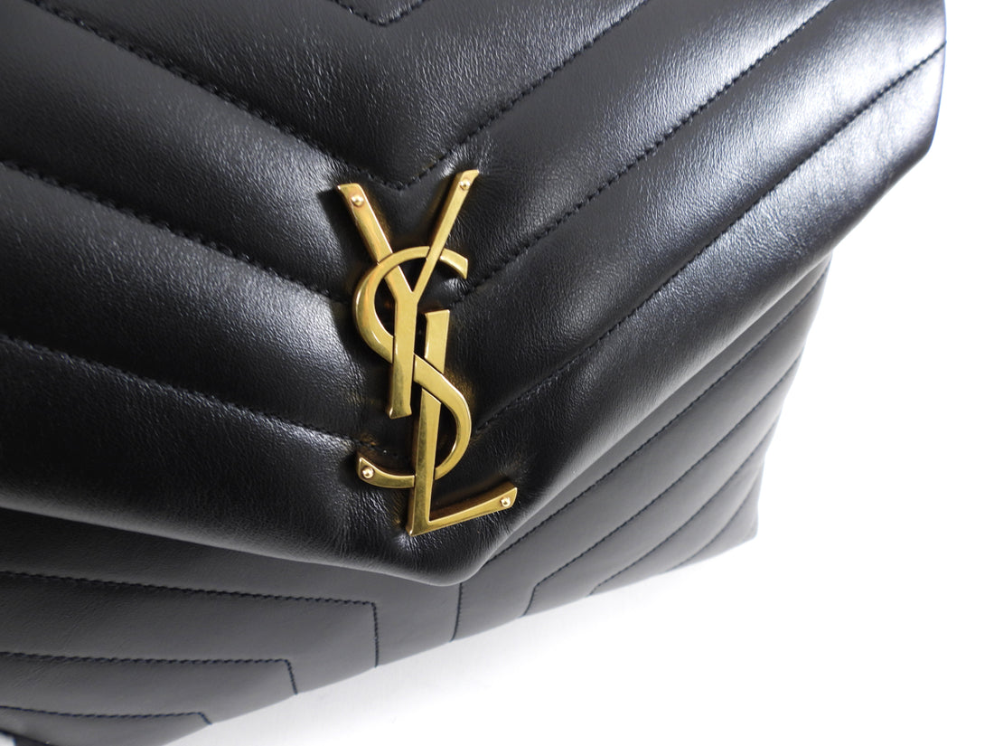 Saint Laurent Medium Black Quilted Lou Lou Bag