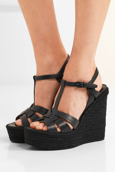 Saint Laurent Black Tribute Espadrille Wedge Sandals - 37