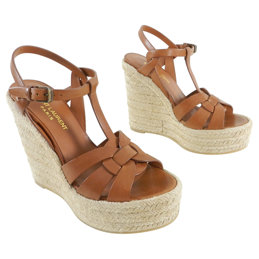 05a7f047928 Saint Laurent Brown Tribute Espadrille Wedge Sandals - 37 – I MISS ...