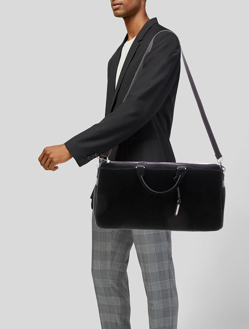 Saint Laurent Black Corduroy Andy Duffle Weekender Bag