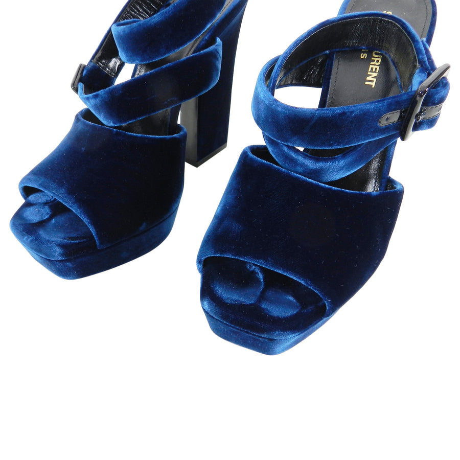 Saint Laurent Blue Velvet Debbie Platform Sandals - 39.5