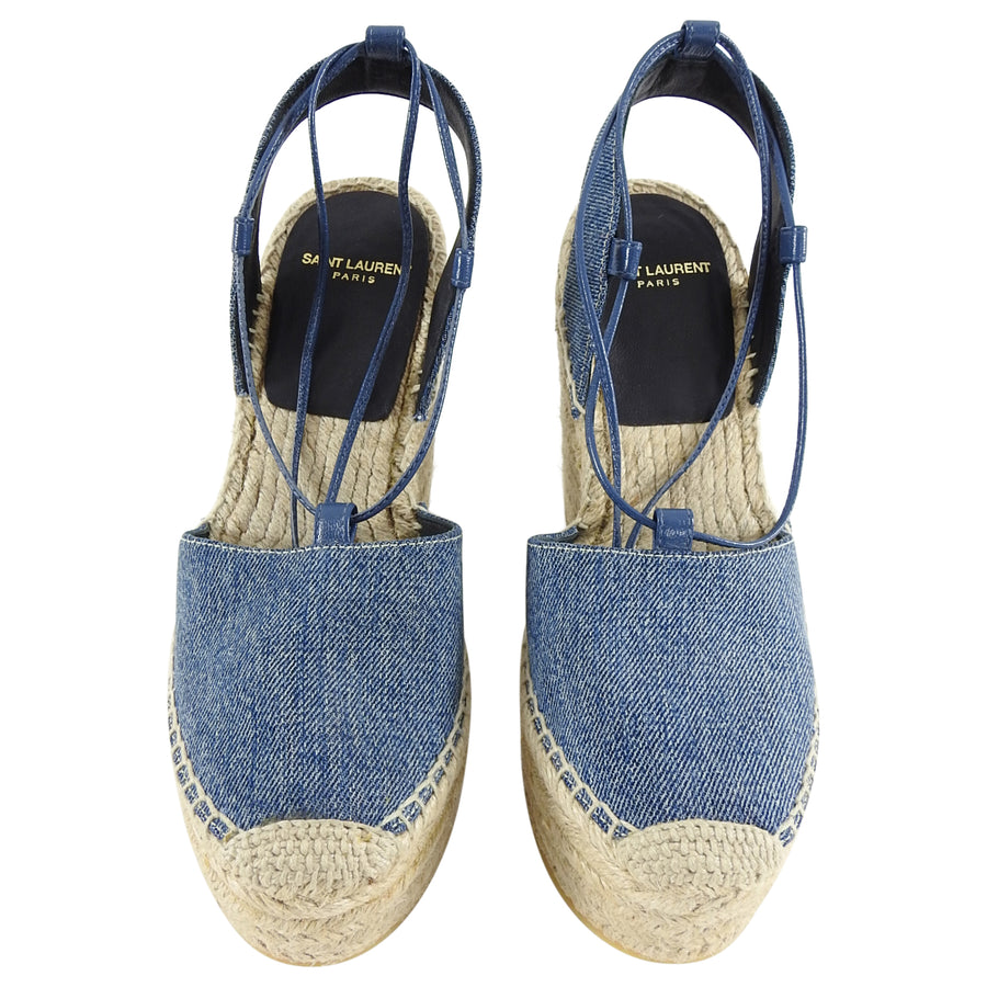 Saint Laurent Blue Denim Espadrille Wedge Sandals - 36.5