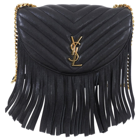 Saint Laurent Black Chevron Quilt Fringe Chain Shoulder Bag