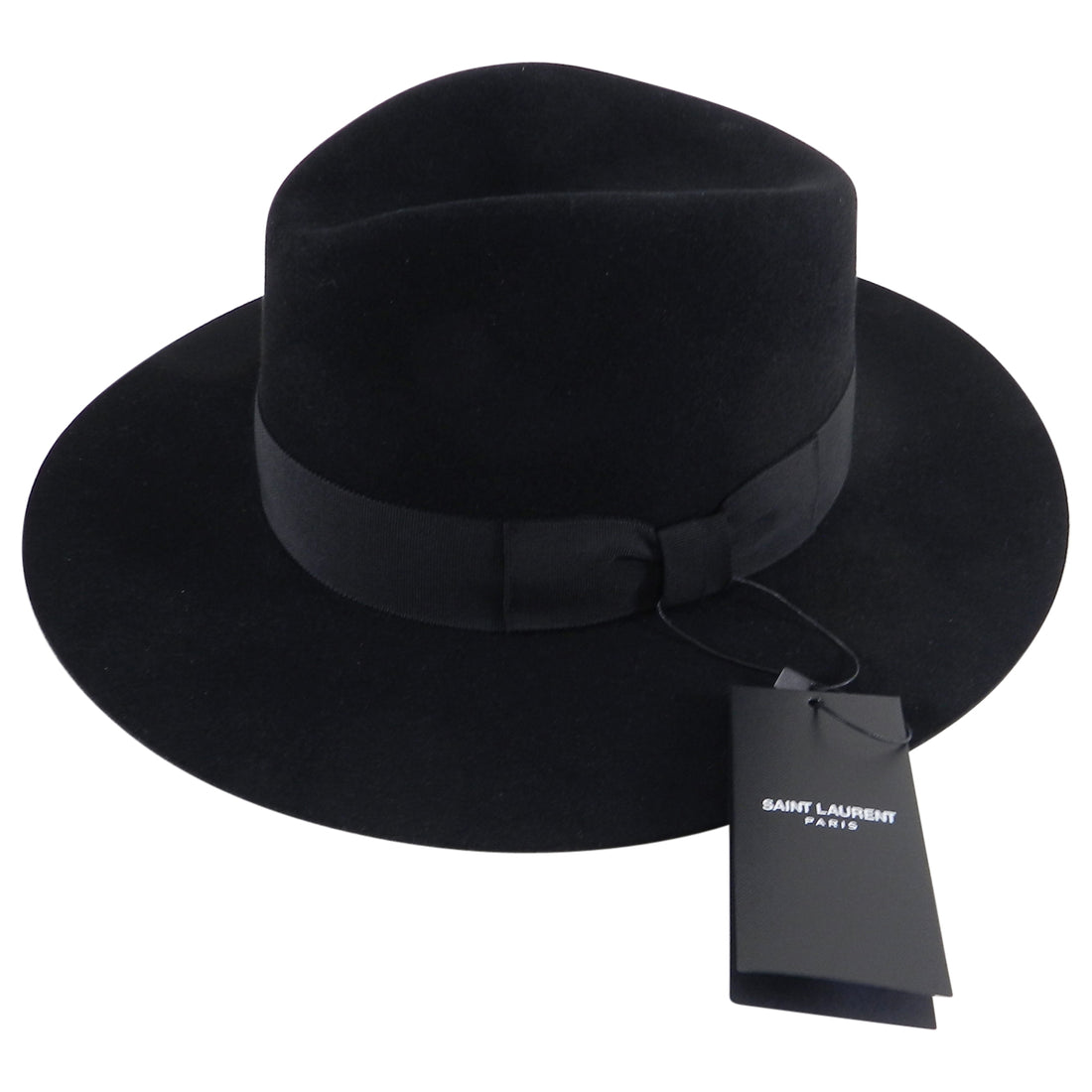 Saint Laurent mens Fall 2016 Black Felt Fedora Wide Brim Hat - XL