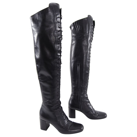 Saint Laurent Over the Knee Babies Leather Lace Up Boots - 40