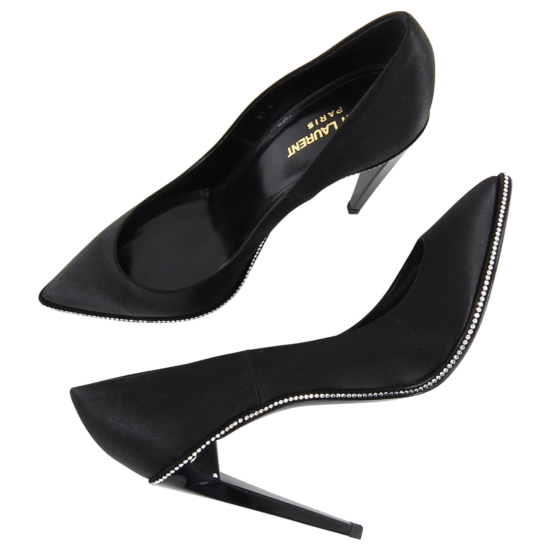 Saint Laurent Black Satin Rhinestone Trim Pumps Heels - 40