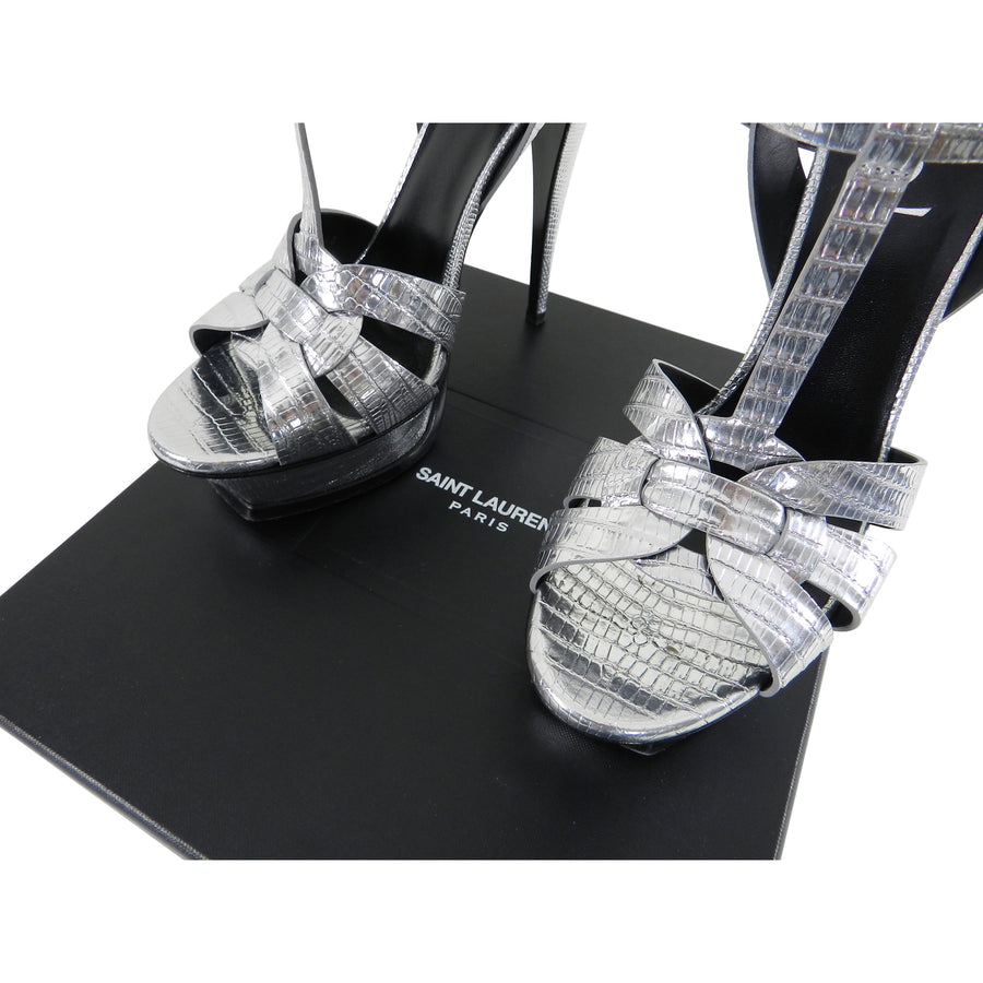 Saint Laurent Silver Metallic Tribute Faux Lizard Embossed Sandals / Heels - 40