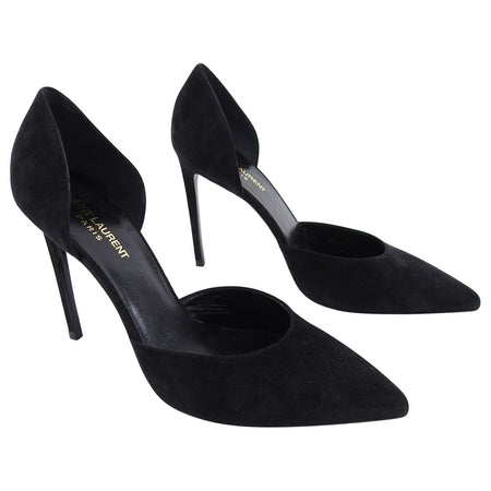 Saint Laurent Black Suede D'Orsay Heels Shoes - 40