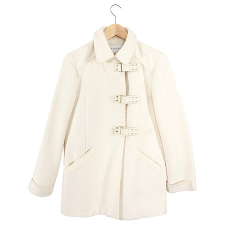 Sandro Ivory Buckle Front Coat - size XS / 36