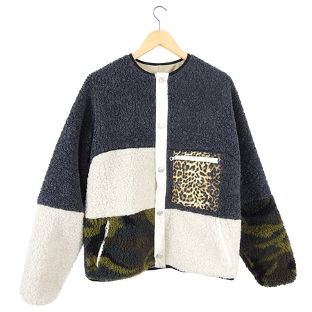 Sandy Liang New York Womp Oversized Fleece Patchwork Jacket - XS / S