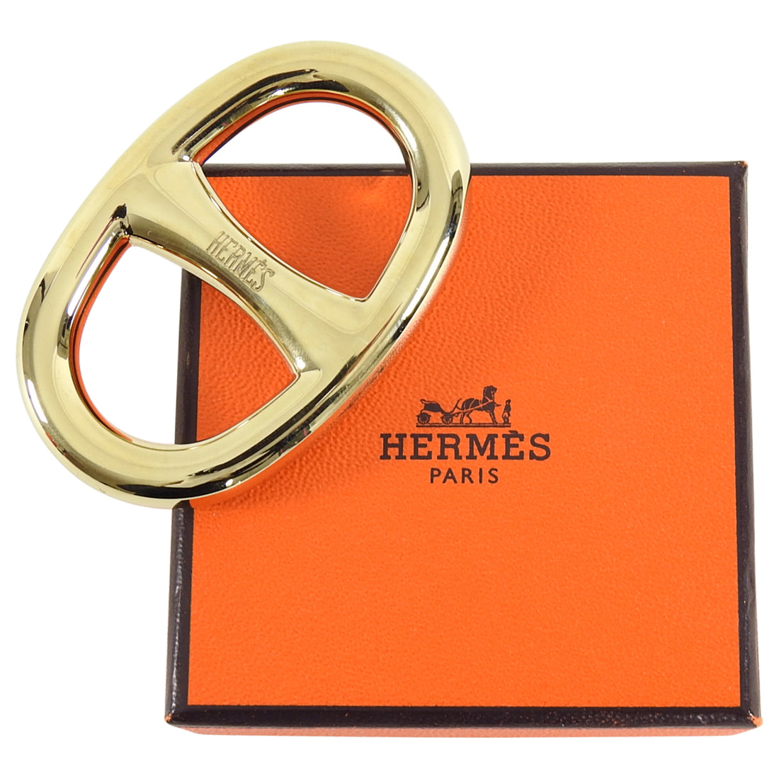 Hermes Gold Chaine D'Ancre Scarf Ring in Box