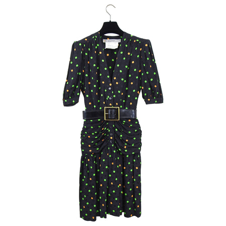 Vintage 1980's Jean Louis Scherrer Silk Polka Dot Ruch Dress - XS