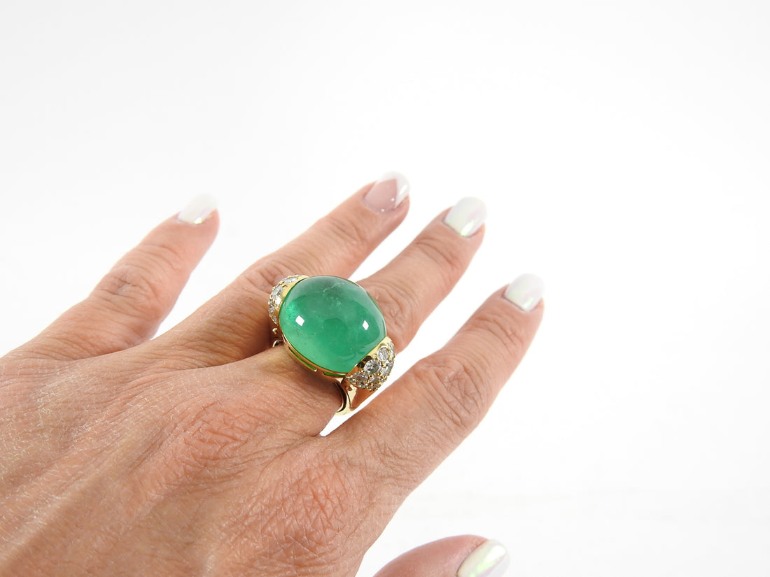 Seaman Schepps 18k Gold Emerald Diamond Gold Ball Cocktail Ring