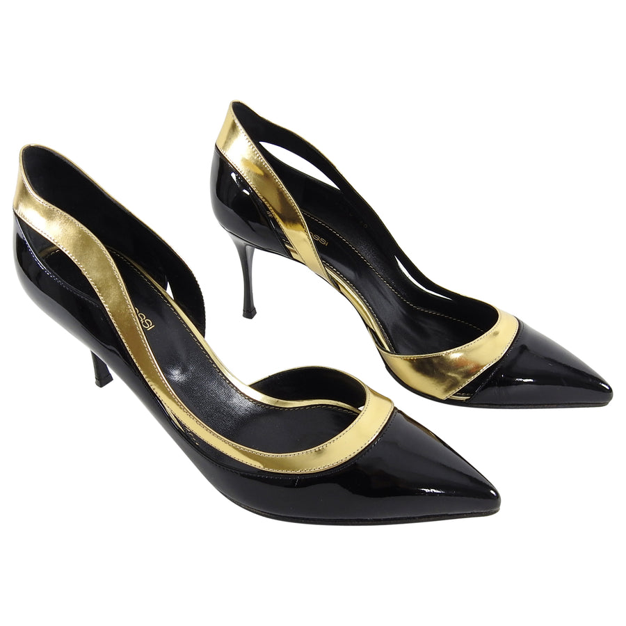 Sergio Rossi Black Patent and Gold Metallic Heels - 40