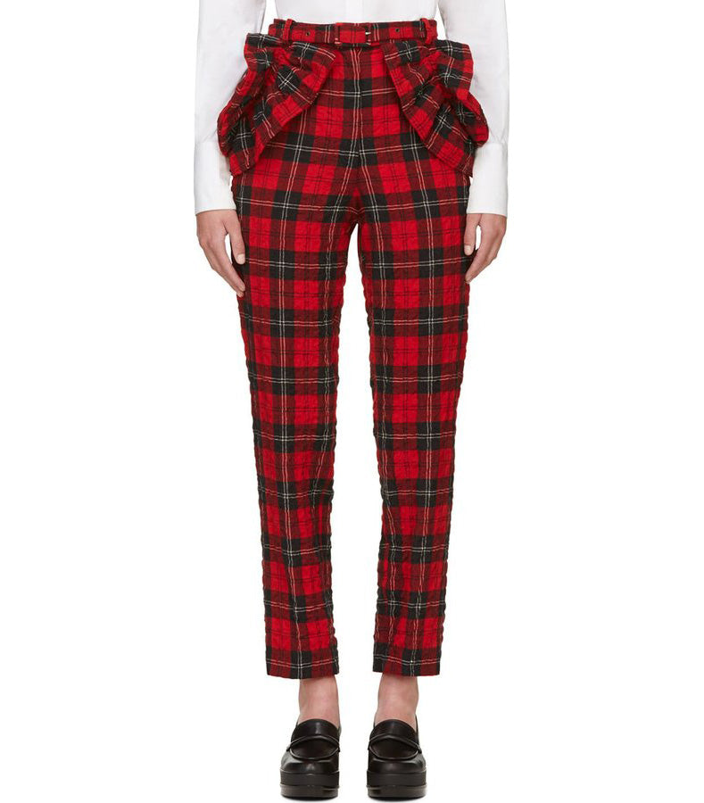 Simone Rocha Runway Red Plaid Ruffle Pants - 0 / XS