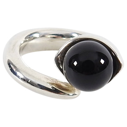 Sophie Buhai Sterling Silver Onyx Snake Wrap Ring - 5