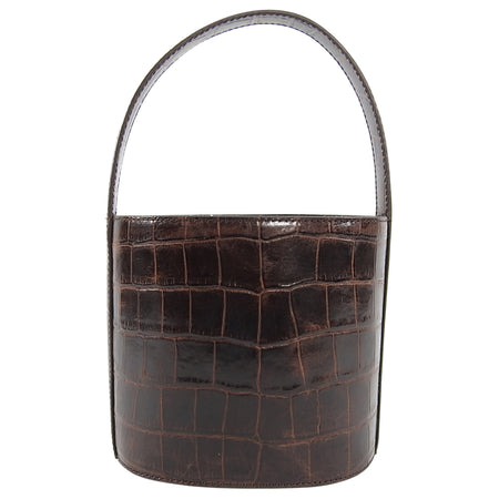 Staud Dark Brown Faux Croc Leather Bisset Bucket Bag