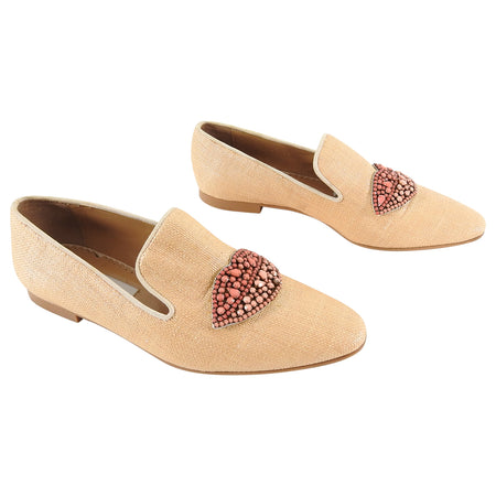 Stella McCartney Tatami Jewelled Lips Flat Loafer - 7.5