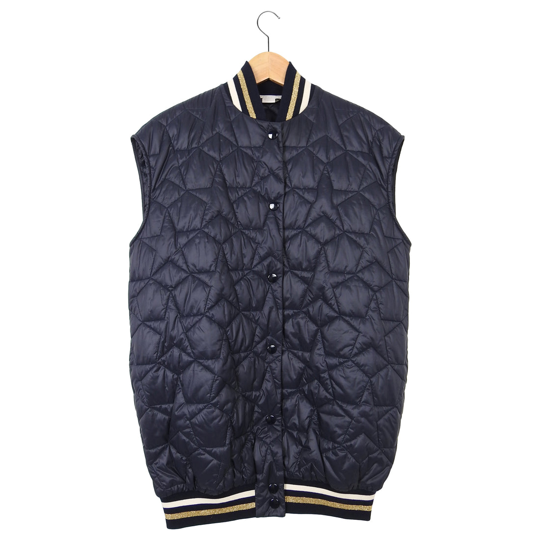 Stella McCartney Navy Quilted Sleeveless Bomber Jacket – M
