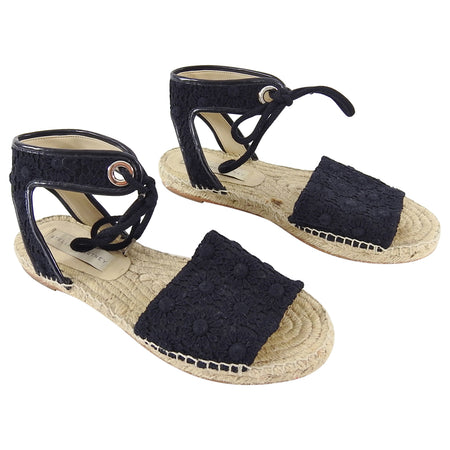 Stella McCartney Black Floral Crochet Flat Espadrille Sandals - 39.5 / 9