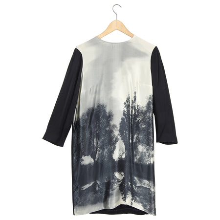 Stella McCartney Black Grey Silk Photoprint Dress - 6