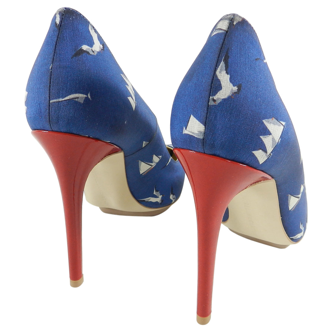 Stella McCartney Blue Silk Sailboat and Seagull Pumps - 37