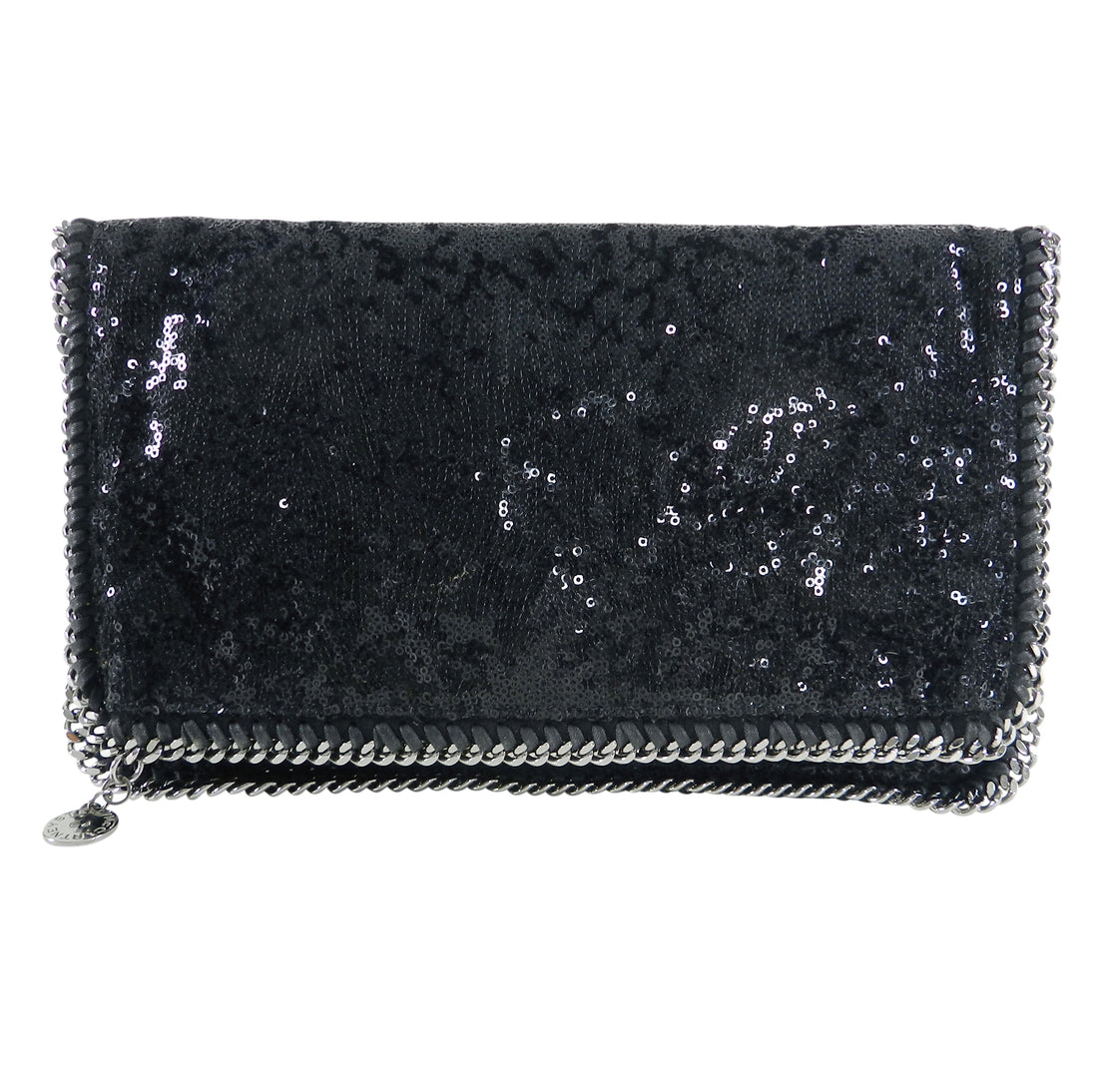 Stella McCartney Black Sequin Falabella Fold Over Clutch Bag