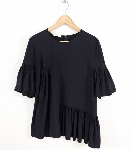 Stella McCartney Black Rayon Pleat Short Sleeve Blouse - IT42 / USAS 6